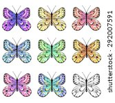 set of colorful butterflies | Shutterstock . vector #292007591