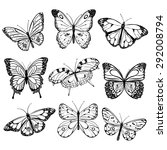 black and white butterflies | Shutterstock . vector #292008794