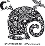 stylized  black and white... | Shutterstock .eps vector #292036121