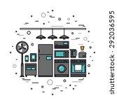 thin line flat design of smart... | Shutterstock .eps vector #292036595