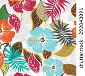 seamless floral flowers vector... | Shutterstock .eps vector #292043891