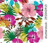 seamless floral flowers vector... | Shutterstock .eps vector #292043915
