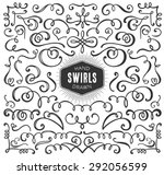 hand drawn decorative curls and ... | Shutterstock .eps vector #292056599