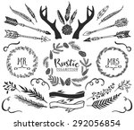 hand drawn antlers  bursts ... | Shutterstock .eps vector #292056854