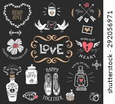 hand drawn decorative love... | Shutterstock .eps vector #292056971