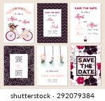 collection of 6 cute card... | Shutterstock .eps vector #292079384