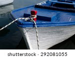 Old Blue Boat On A Dock. Moore...