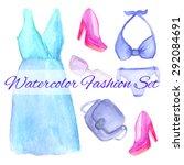 vector watercolor fashion... | Shutterstock .eps vector #292084691