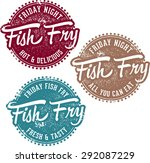 friday fish fry menu stamps | Shutterstock .eps vector #292087229