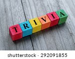 word trivia on colorful wooden... | Shutterstock . vector #292091855