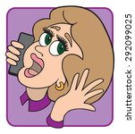 woman having an animated... | Shutterstock .eps vector #292099025