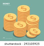 vector gold coins illustration. ... | Shutterstock .eps vector #292105925