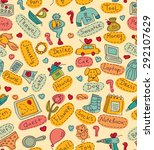 seamless pattern with gift... | Shutterstock .eps vector #292107629
