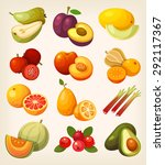 exotic tropical fruit. icons... | Shutterstock .eps vector #292117367