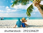 couple in blue clothes on a... | Shutterstock . vector #292134629