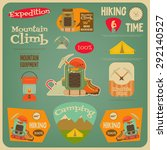 mountain climbing card in retro ... | Shutterstock .eps vector #292140527