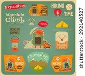 mountain climbing card in retro ... | Shutterstock .eps vector #292140527