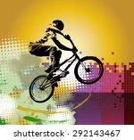 bmx rider. sport illustration | Shutterstock . vector #292143467