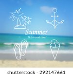 summer and travel icon set on... | Shutterstock .eps vector #292147661