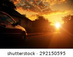 blurred road and car  speed... | Shutterstock . vector #292150595