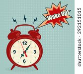 red alarm clock in pop art style | Shutterstock . vector #292151015