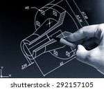 engineer working on cad blue... | Shutterstock . vector #292157105