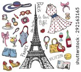 fashion illustration.paris... | Shutterstock .eps vector #292163165