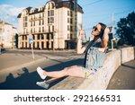 girl hippie in the summer... | Shutterstock . vector #292166531