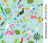 seamless tropical pattern with... | Shutterstock .eps vector #292167251