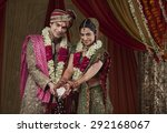 portrait of smiling bride and... | Shutterstock . vector #292168067