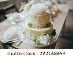 white cake decorated with... | Shutterstock . vector #292168694