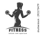 fitness club logo or emblem... | Shutterstock . vector #292173479