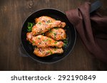 baked spicy chicken legs with... | Shutterstock . vector #292190849