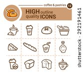 line flat icons of coffee and... | Shutterstock .eps vector #292191461