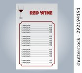 vector menu with a glass of red ... | Shutterstock .eps vector #292194191