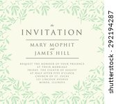 invitation with pattern olive... | Shutterstock .eps vector #292194287