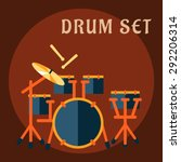 drum set with sticks in flat... | Shutterstock .eps vector #292206314