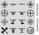 flying drone flat bicolor icons.... | Shutterstock . vector #292236305