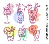 set of linear icons cocktail...   Shutterstock .eps vector #292247075