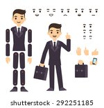 Young businessman cartoon character in formal suit, animation ready vector doll with separate joints. Extra gestures, facial expressions and items (suitcase, smartphone) | Shutterstock vector #292251185