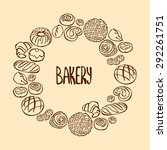 bakery products. frame   wreath.... | Shutterstock .eps vector #292261751