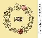 bakery products. frame   wreath.... | Shutterstock .eps vector #292261754