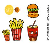 hand drawn fast food set.... | Shutterstock .eps vector #292268219