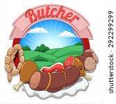meat and butcher raster version | Shutterstock . vector #292299299