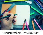 hand write on the notebook and... | Shutterstock . vector #292302839