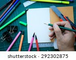 hand write on the notebook and... | Shutterstock . vector #292302875