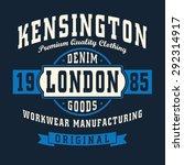vintage denim london typography ...   Shutterstock .eps vector #292314917
