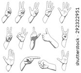 different hands gestures raster ... | Shutterstock . vector #292322951