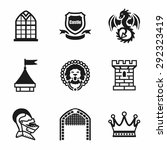 vector castle icon set on white ... | Shutterstock .eps vector #292323419