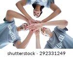 low angle of happy volunteers... | Shutterstock . vector #292331249